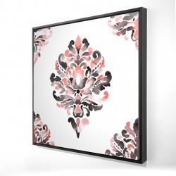 Framed 24 x 24 - 3D - Coral baroque ornament