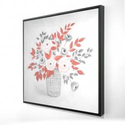 Framed 24 x 24 - 3D - Flower illustration