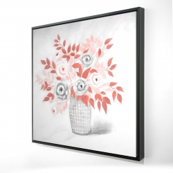 Framed 36 x 36 - 3D - Coral flower illustration