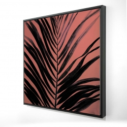 Framed 24 x 24 - 3D - Coral tropical palm leave