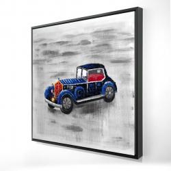 Framed 24 x 24 - 3D - Vintage blue toy car