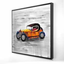 Framed 24 x 24 - 3D - Yellow vintage car toy