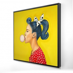 Framed 24 x 24 - 3D - Retro woman with beautiful ponytail