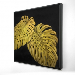 Framed 24 x 24 - 3D - Gold monstera