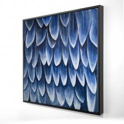 Framed 24 x 24 - 3D - Plumage blue