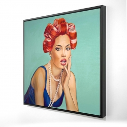 Framed 24 x 24 - 3D - Pin up girl with curlers