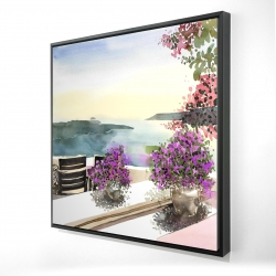 Framed 24 x 24 - 3D - Mediterranean sea view