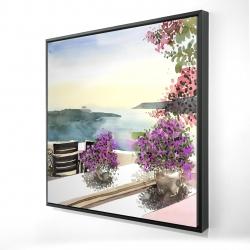Framed 24 x 24 - 3D - Mediterranean sea view