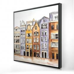 Framed 24 x 24 - 3D - Amsterdam houses hotel