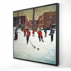 Framed 24 x 24 - 3D - Young hockey players