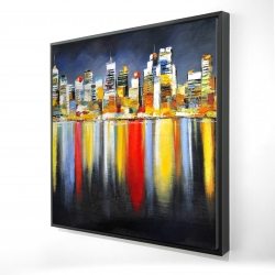 Framed 24 x 24 - 3D - Colorful reflection of a cityscape by night
