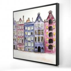 Framed 24 x 24 - 3D - Old historic houses amsterdam