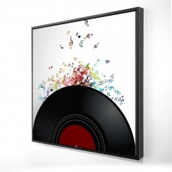Framed 36 x 36 - 3D - Notes escaping from a vinyl record