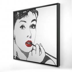Framed 24 x 24 - 3D - Audrey hepburn outline style