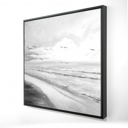 Framed 24 x 24 - 3D - Monochrome tropical sunset