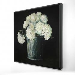 Framed 24 x 24 - 3D - White hydrangea flowers