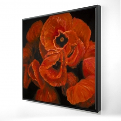 Framed 24 x 24 - 3D - Poppy bouquet