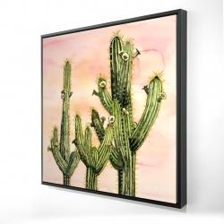 Framed 24 x 24 - 3D - Weberocereus cactus
