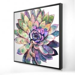 Framed 24 x 24 - 3D - Multicolored succulent