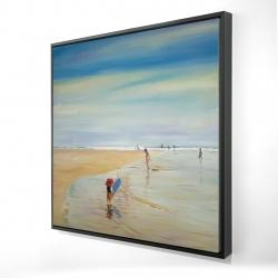 Framed 24 x 24 - 3D - Children at the beach