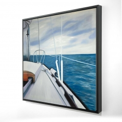 Framed 36 x 36 - 3D - Sail on the water