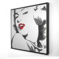Framed 24 x 24 - 3D - Marilyn monroe outline style