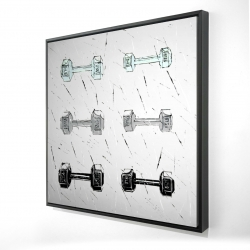 Framed 24 x 24 - 3D - Dumbbells