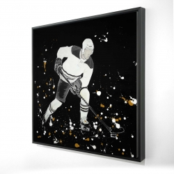 Framed 24 x 24 - 3D - Hockey player in action