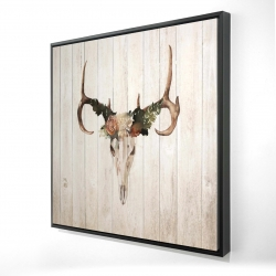 Framed 24 x 24 - 3D - Mule deer skull with roses