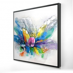 Framed 48 x 48 - 3D - Abstract flower with newspaper