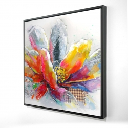 Framed 24 x 24 - 3D - Abstract flower with texture