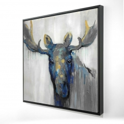 Framed 24 x 24 - 3D - Blue moose