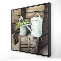 Framed 48 x 48 - 3D - Vintage watering can