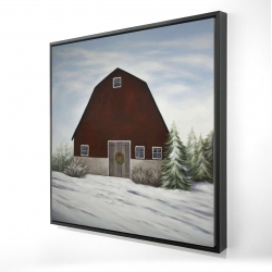 Framed 24 x 24 - 3D - It's winter on the farm