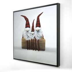 Framed 24 x 24 - 3D - Three christmas gnomes