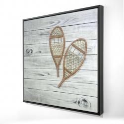 Framed 24 x 24 - 3D - Snowshoes