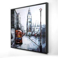 Framed 48 x 48 - 3D - Abstract london and red bus