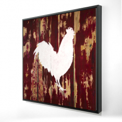 Framed 24 x 24 - 3D - Rooster silhouette
