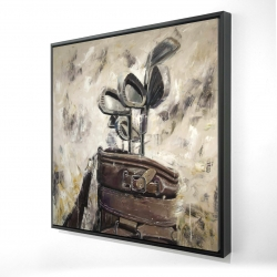 Framed 24 x 24 - 3D - Vintage sticks and golf bag