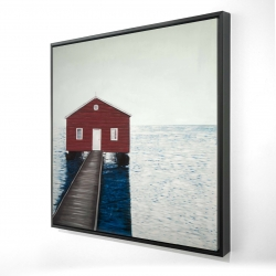 Framed 24 x 24 - 3D - Boathouse