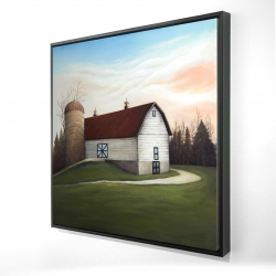 Framed 24 x 24 - 3D - White barn view