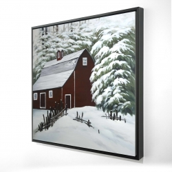 Framed 24 x 24 - 3D - Red barn in snow