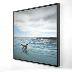 Framed 24 x 24 - 3D - Dog on the beach