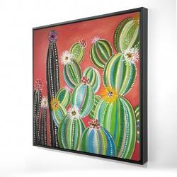 Framed 24 x 24 - 3D - Rainbow cactus