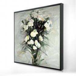 Framed 24 x 24 - 3D - Lisianthus white bouquet