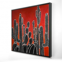 Framed 24 x 24 - 3D - Black tall cactus
