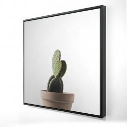 Framed 24 x 24 - 3D - Potted cactus