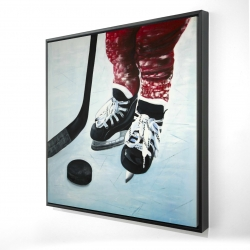 Framed 24 x 24 - 3D - Young hockey player