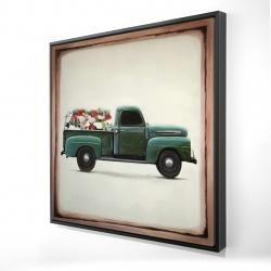 Framed 24 x 24 - 3D - Flowers farm truck