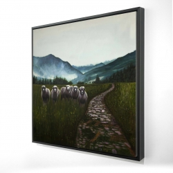 Framed 24 x 24 - 3D - Sheep in the countryside